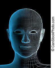 personne, tête, transparent