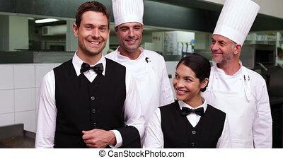 personnel, c, restaurant, sourire heureux