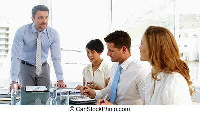 personnel, conversation, sien, homme affaires