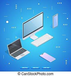 personnel, informatique, ordinateur portable, smartphone., tablette