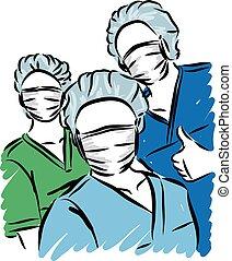 personnel, médecins, illustration, vecteur, monde médical