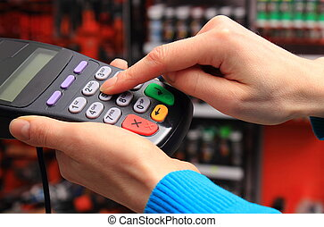 personnel, terminal, nombre, identification, entrer, utilisation, paiement