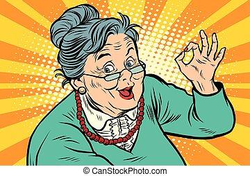 personnes agées, geste, grand-maman, d'accord