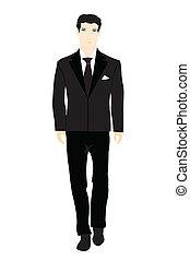 personnes, costume noir