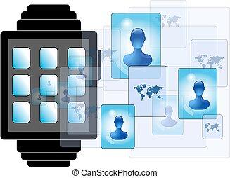personnes, média, illustration, smartwatch, social