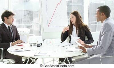 personnes réunion, jeune, business