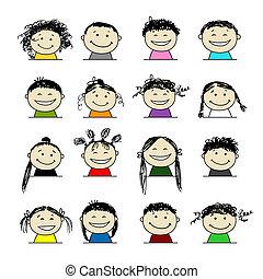 personnes sourire, conception, ton, icônes