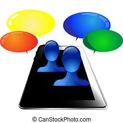 personnes, tablette, communiquer