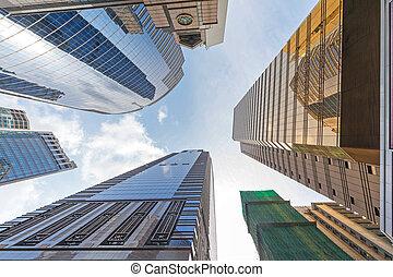 perspective, kong, gratte-ciel, hong