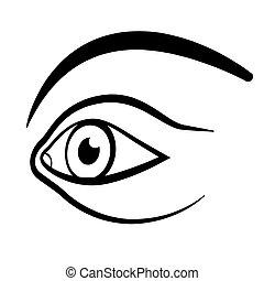 perspective, oeil, illustration., vector., contour