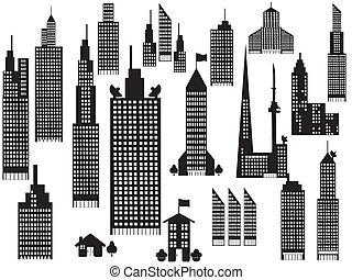 perspective, ville bâtiments, silhouette