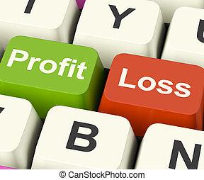 perte, business, profit, projection, clés, recettes, internet, ou