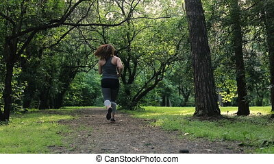 perte, concept, poids, excès poids, dos, femme, running.