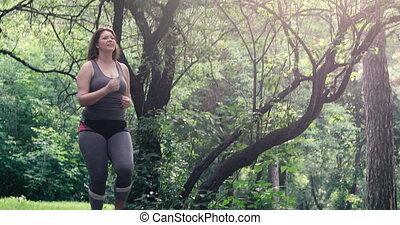 perte, femme, poids, concept., excès poids, running.