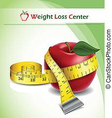 perte, poids, fond, pomme