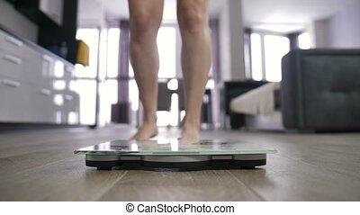 perte pondérale, jambes, femme, échelle, célébrer