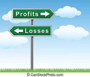 pertes, route, profite, signe