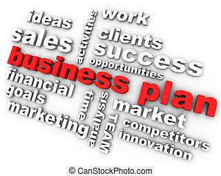 pertinent, business, entouré, plan, mots, rouges