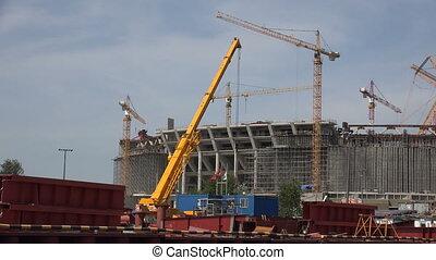 petersburg., stade, rue., construction