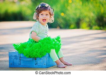 petit, été, girl, heureux, enfant