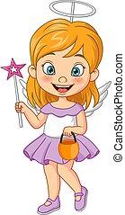 petit ange, girl, dessin animé, porter, costume halloween