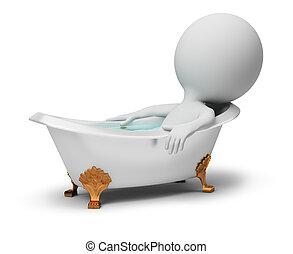 petit, bain, -, 3d, gens