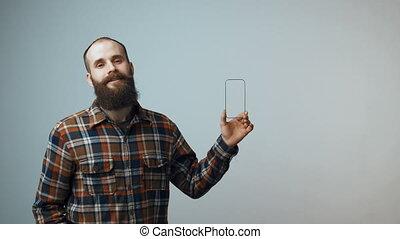 petit, barbu, cadre, homme