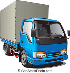 petit, bleu, camion