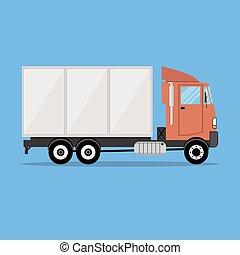 petit, cargaison, moderne, transport, camion