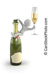 petit, champagne, -, 3d, gens