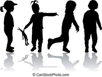 petit, children., groupe
