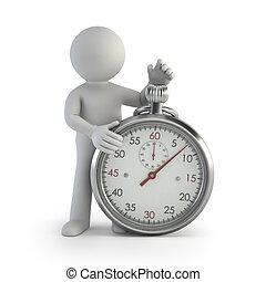 petit, chronomètre, -, 3d, gens