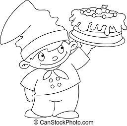 petit, cuisinier, esquissé, gâteau