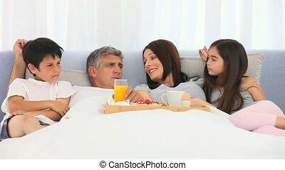 petit déjeuner, avoir, famille