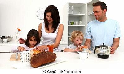petit déjeuner, famille, mignon, avoir
