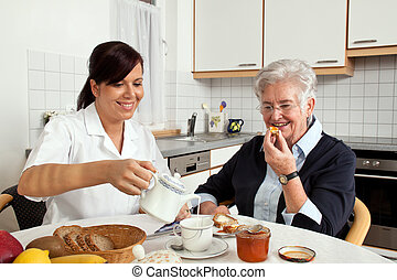petit déjeuner, femme, aides, personnes agées, infirmière