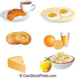 petit déjeuner, icône, ensemble