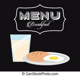 petit déjeuner, menu, conception
