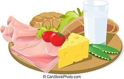 petit déjeuner, planche, bois