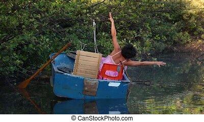 petit, danse, performance, bateau