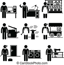 petit, employé, soi, travaux, business