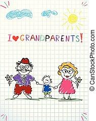 petit-fils, coloré, enfants, salutation, main, vecteur, ensemble., grand-maman, dessiné, papy, carte