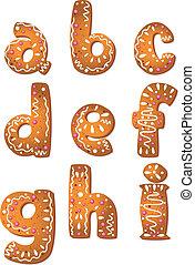 petit gâteau, ensemble, lettres