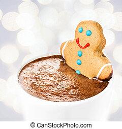 petit gâteau, pain épice, tasse, chaud, homme, sur, bain, prendre, chocolat