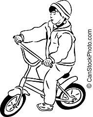 petit, garçon, croquis, équitation bicyclette