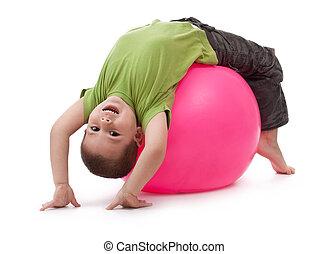 petit garçon, exercices, gymnastique