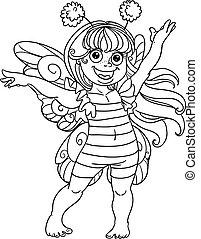 petit, girl, complet, carnaval, abeille