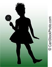 petit, girl, silhouette, heureux