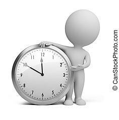 petit, horloge, -, 3d, gens