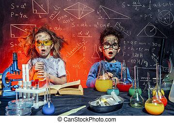 petit, laboratoire, scientifiques